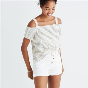 Madewell Striped Cold ShoulderTop XS Black & White